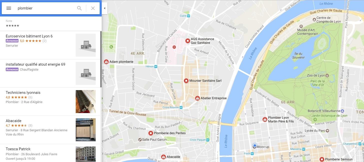 annonces de proximité google map